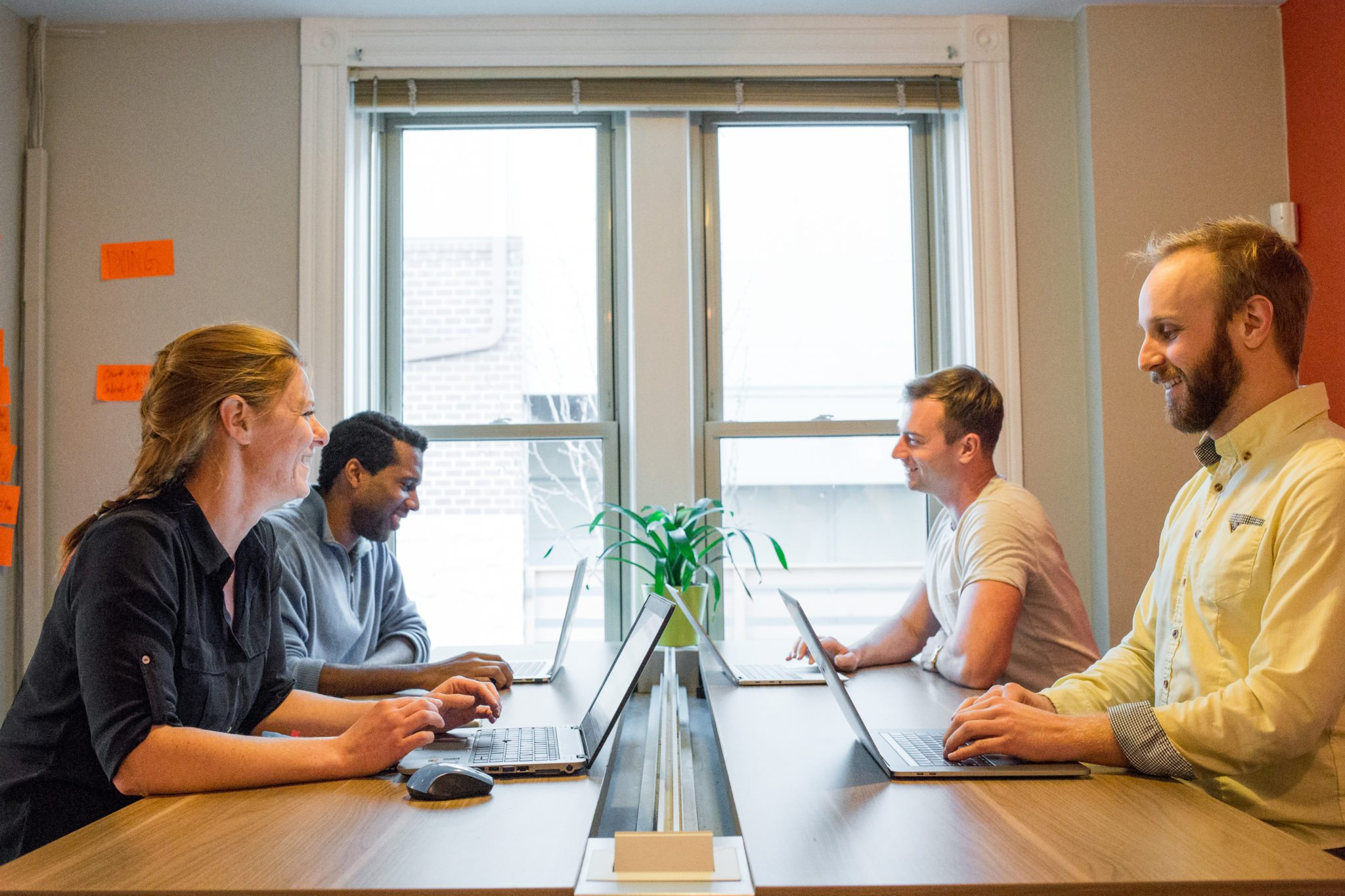 Remote workers and freelancers coworking in the loud side
