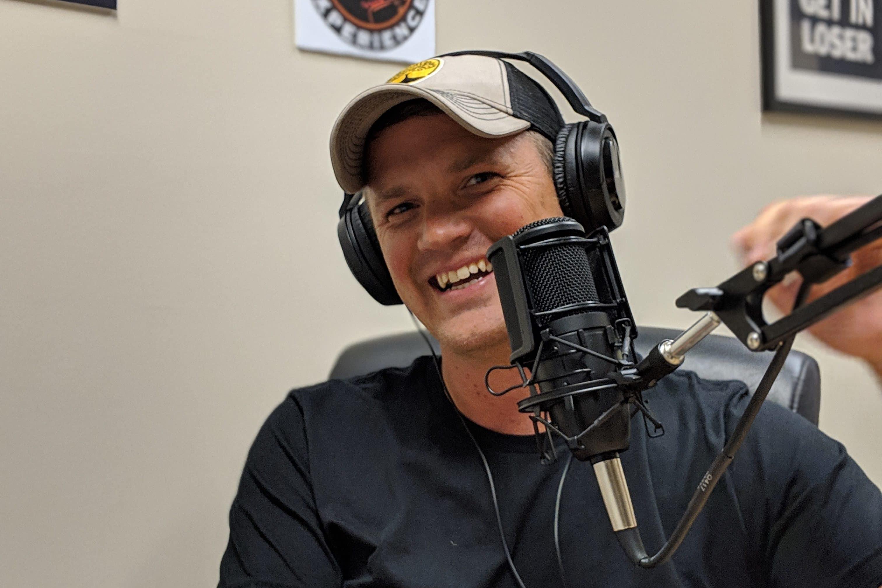 Justin Gunnick at Creative Density's podcasting studio in Denver