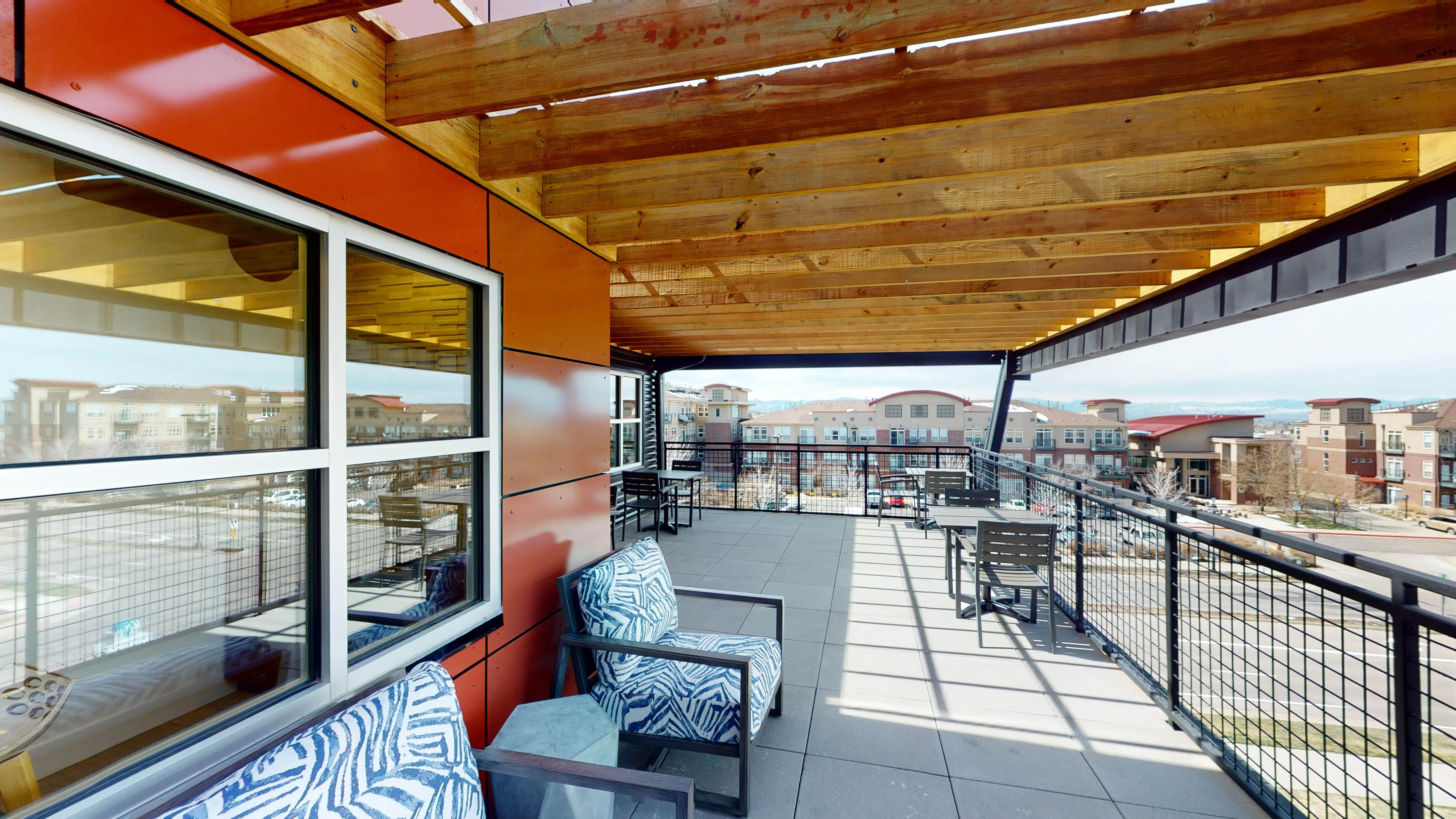 Sunny coworking patio in South Denver