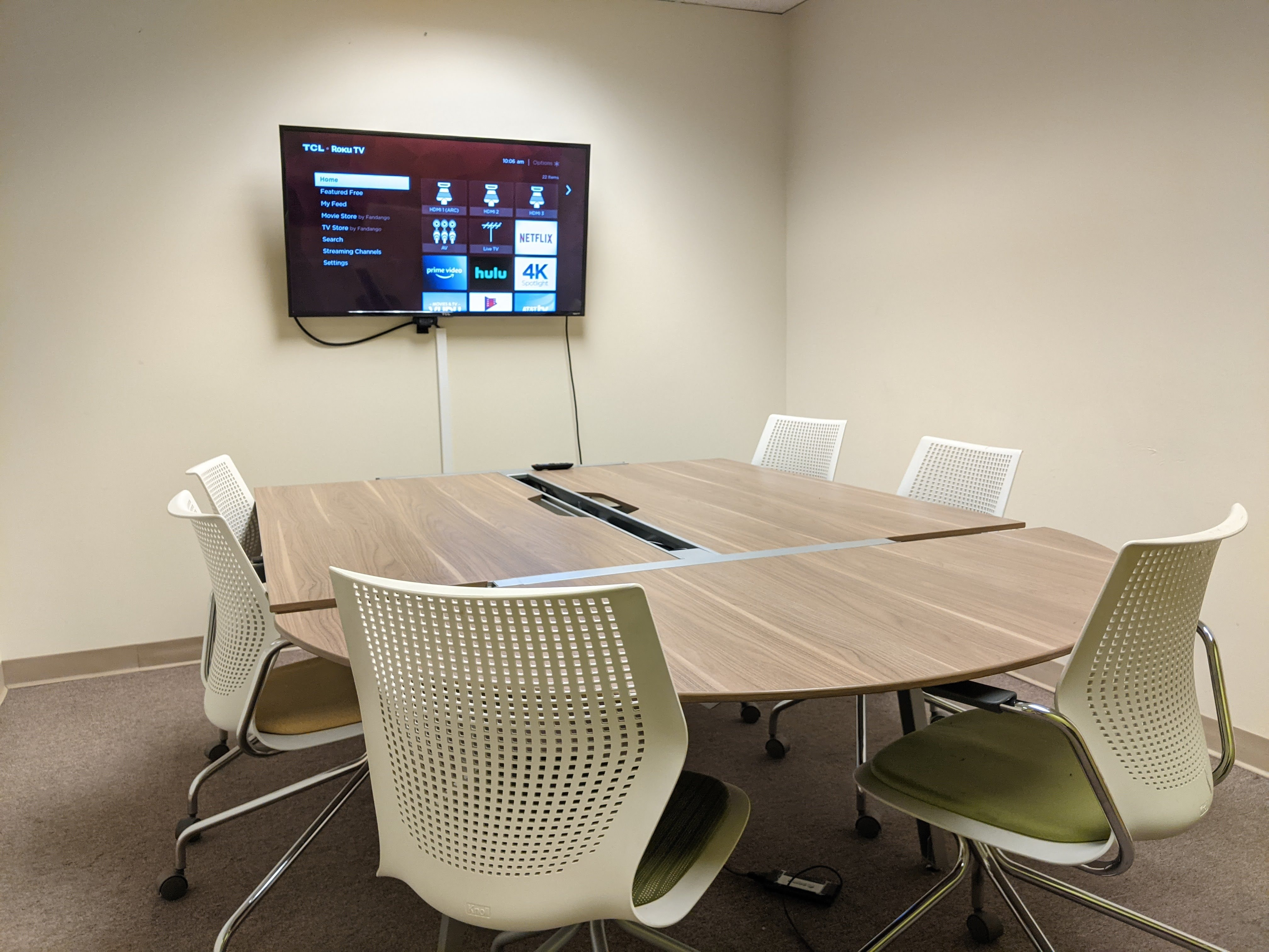 Conference room with TV and a whiteboard